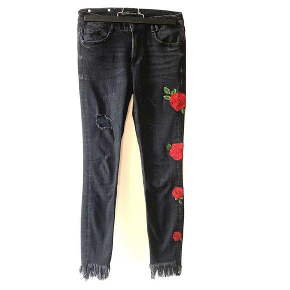 Zara   Trafaluc Denimwear Black Distressed Embroidered Floral Skinny Jeans